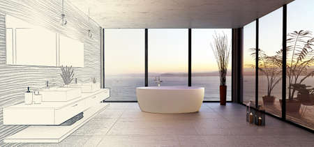 Stylish high key bathroom with sea view. Round bath tub with double wash basin and rough textured stone tiles. Sunset illuminating interior with multiple large windows.Conceptual 3D bathroom design idea. Pencil draft drawing fading into final color render.