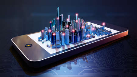 3d illustration of  smart city hologram on smartphone screen. Conceptual connections between buildings against dark blue tech background.