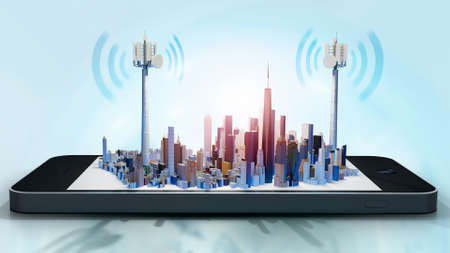 3D illustration of conceptual smart city on smartphone screen. Telecom antennae with radio waves against seamless blue background.