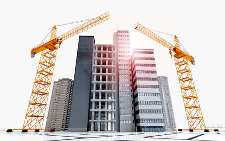 3d render of conceptual skyscrapers and buildings under construction. Low angle shot of construction cranes in city isolated on white background.