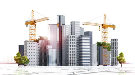 3D render of conceptual urban building construction. Multiple skyscrapers and buildings under construction with cranes.Isolated on white background.