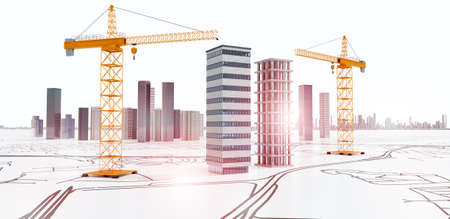 Conceptual 3D render of city planning. Skyscrapers and buildings under construction with yellow cranes on  blueprint development layout.