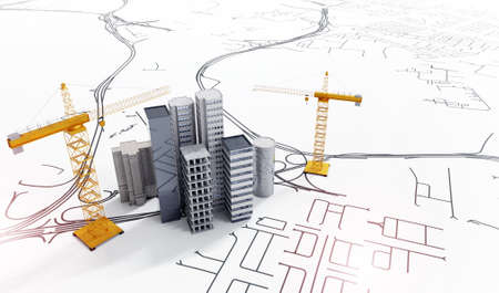 3d illustration of conceptual city planning.Top view of office buildings with construction cranes on schematic layout. Banco de Imagens