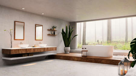 3D render of spacious modern high key bathroom. Big window next to round bathtub with tranquil forest view. Stockfoto