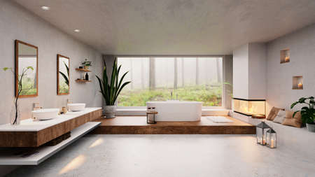 3D illustration of modern luxury bathroom with big window and forest view. Cozy fireplace next to round bathtub and double washbasin. Stockfoto