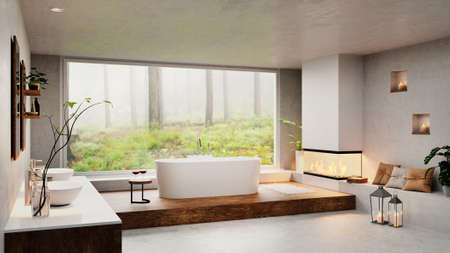 3D render of luxury modern bathroom with round bathtub next to cozy fireplace. Big window with forest view and double washbasin.
