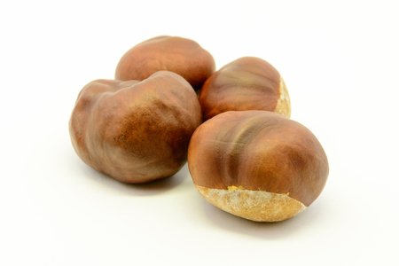 conker: Closeup chestnuts isolated on white background Stock Photo