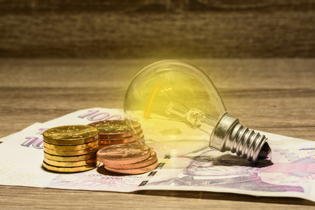 Lit European bulb placed on Czech money. Modern energy saving. The concept of electricity saving. The idea to save money and energy. Financial concept.