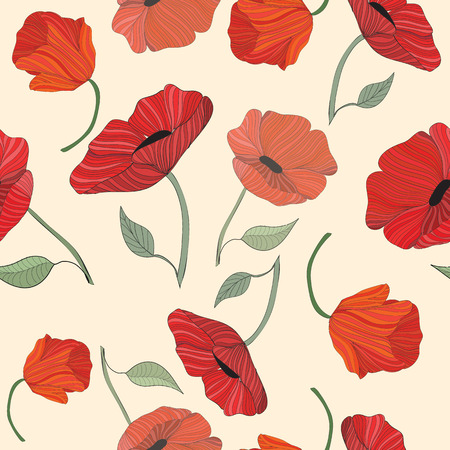 A floral pattern of red poppies