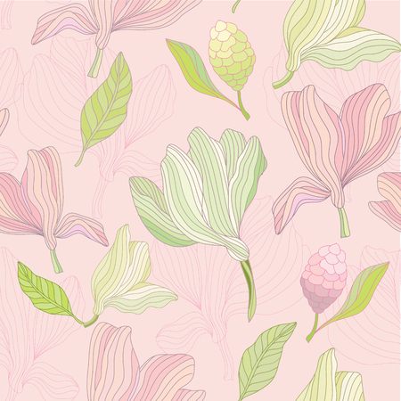 A floral repeat pattern of Magnolias Ilustrace