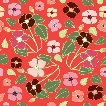 Coral, Pink and Deep Red Floral Repeat Print Pattern  in Vector Illustration