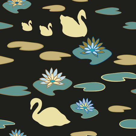 Swan Lake Seamless Repeat Pattern Vector Background. Makes an excellent textile or stationery pattern.