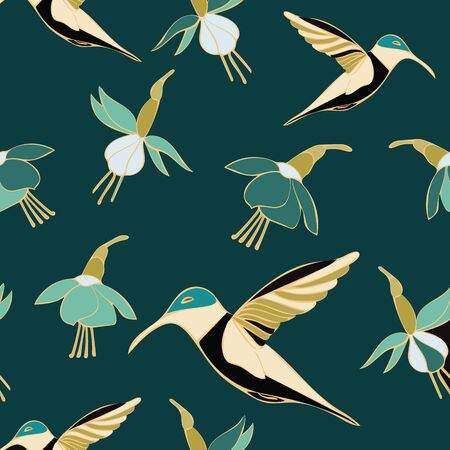 Teal Hummingbird Floral Repeat Pattern Vector. Makes a pretty textile or printed matter. Standard-Bild - 126177780