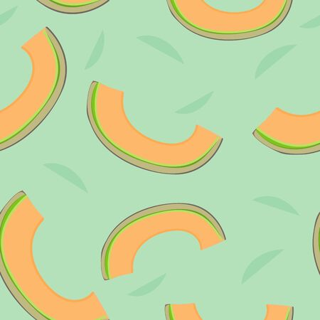 Cantaloupe Pattern Seamless Repeat Print Background Vector. Spring and Summer Collection Illustration