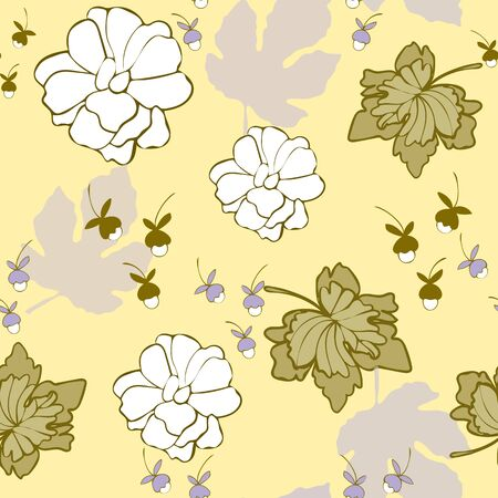Lemon Lilac Floral Seamless Repeat Pattern Vector Background.