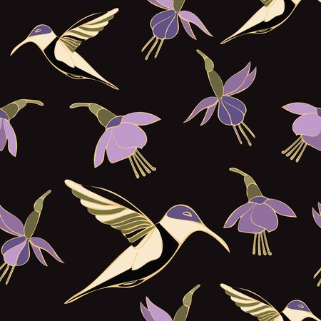 Moody Hummingbird Floral Repeat Pattern Vector. Makes a pretty textile or printed matter. Stock Illustratie