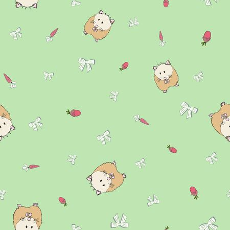 Small Cute Hamster Collection Pattern in Soft Green Repeat Print Vector. A cute print for any surface.
