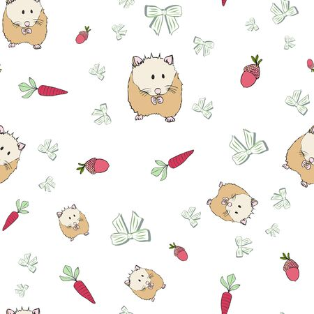 Cute Hamster Collection Pattern in White Repeat Print Vector. A cute print for any surface.
