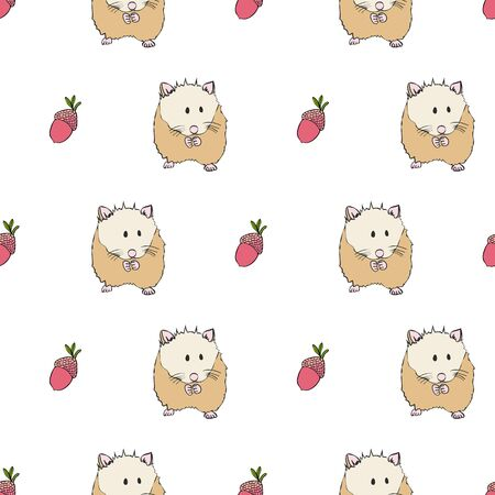 Cute Hamster and Acorn Collection Pattern in White Repeat Print Vector