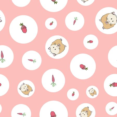 Polka Dots Cute Hamster Collection Pattern Repeat Print Vector. A cute print for any surface. Illustration