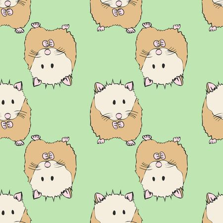 Large Cute Hamster Collection Pattern with Soft Green Repeat Print Vector. A cute print for any surface.