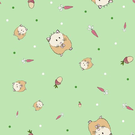 Cute Hamster Collection Pattern in Soft Green Repeat Print Vector. A cute print for any surface.