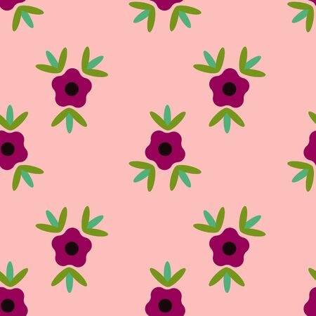 Peach Single Flower Folk Collection Repeat Pattern Vector. A pretty pattern for any surface.