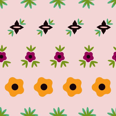 Striped Soft Peach Floral Folk Collection Repeat Pattern Vector. A pretty pattern for any surface.