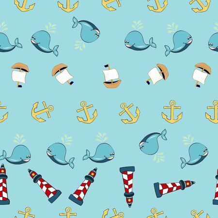 Joyful Nautical Collection Repeat Seamless Print Pattern in Vector. A happy joyful print. Banque d'images - 137655490