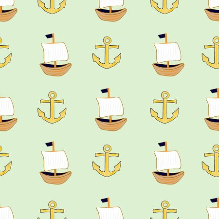 Joyful Nautical Collection Repeat Seamless Print Pattern in Vector. A happy joyful print. Banque d'images - 137655673