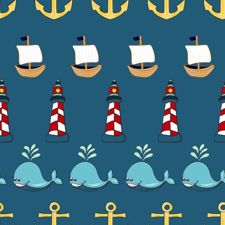 Joyful Nautical Collection Repeat Seamless Print Pattern in Vector. A happy joyful print. Banque d'images - 137655678