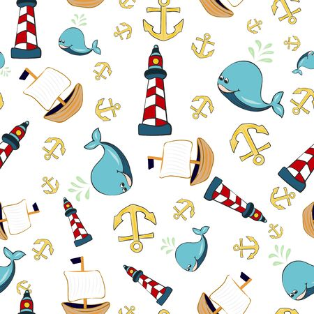 Joyful Nautical Collection Repeat Seamless Print Pattern in Vector. A happy joyful print. Banque d'images - 137655679