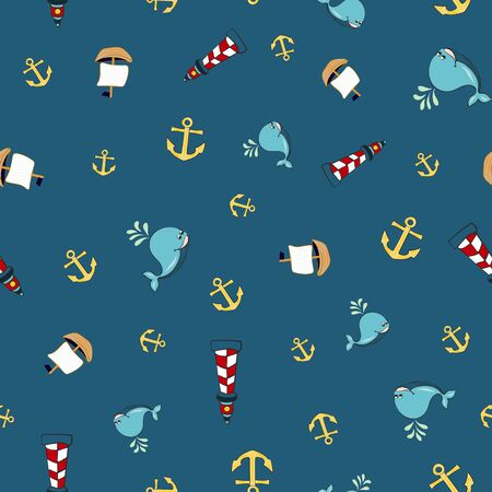 Joyful Nautical Collection Repeat Seamless Print Pattern in Vector. A happy joyful print. Banque d'images - 137655680