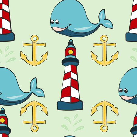 Joyful Nautical Collection Repeat Seamless Print Pattern in Vector. A happy joyful print. Banque d'images - 137655890