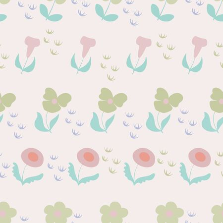 Peachy Pink Garden Floral Repeat Pattern Vector Print. Illustration