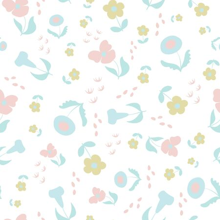 Soft Garden Scattered Floral Repeat Pattern Vector Print.