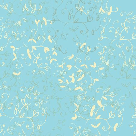Soft Blue Floral Seamless Repeat Pattern Vector Background Stock Vector - 129413064