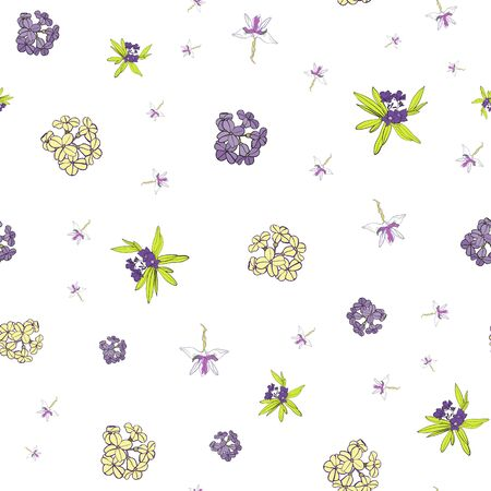 Soft Blue Floral Seamless Repeat Pattern Vector Background Stock Vector - 129413096
