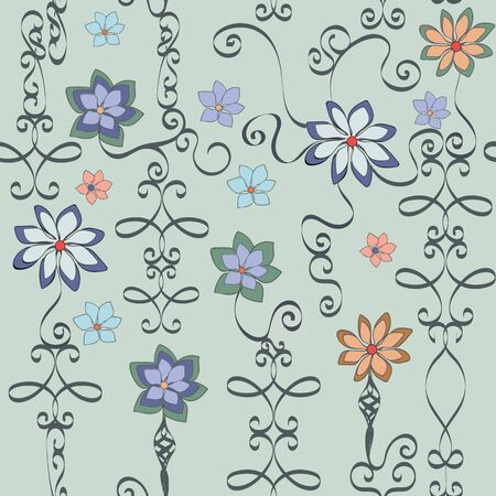 Wrought Iron Floral Seamless Repeat Pattern Vector Background