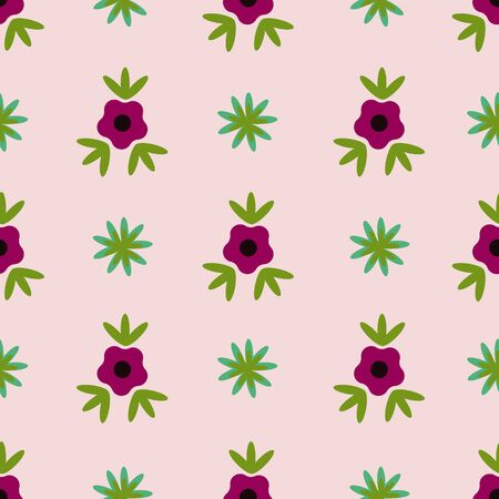 Small Rose Peach Single Flower Folk Collection Repeat Pattern Vector. A pretty pattern for any surface.