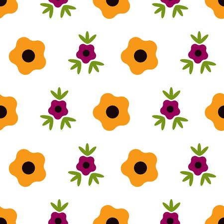 Marigolds and Roses Floral Folk Collection Repeat Pattern Vector. A pretty pattern for any surface.