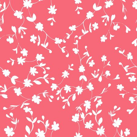 Coral and White Floral Repeat Print Pattern in Vector
