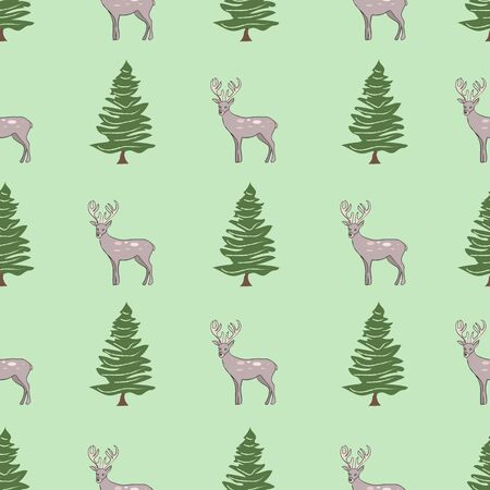 Deers in the Deep Wilderness Canadian Collection Repeat Pattern Vector Çizim