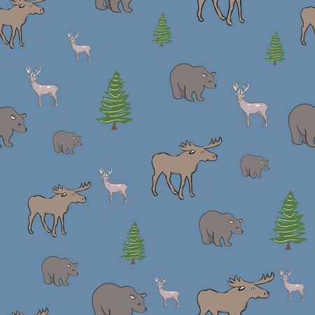 Wilderness Denim Canadian Collection Repeat Pattern Vector Print. A cute pattern for any surface. Foto de archivo - 129198506