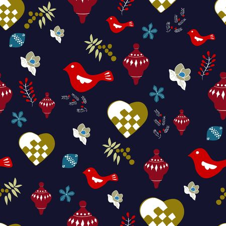 A Navy Blue Christmas Seamless Repeat Pattern Vector Print. A beautiful pattern for the holiday season.