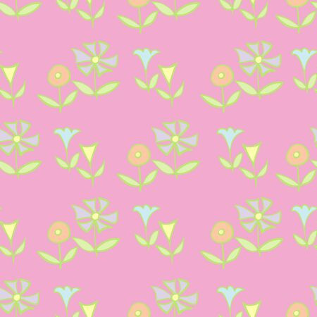 Pink Waves of Folky Flowers Repeat Pattern Vector Print. A pretty print for any surface.