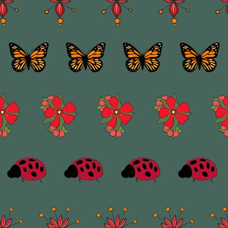 Garden Floral Butterfly Collection Repeat Pattern Vector Print Illustration