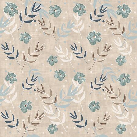 Cream and Blue Floral Repeat Print Pattern in Vector
