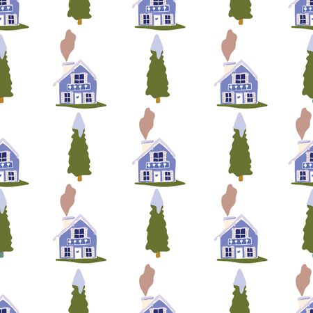 Vertical Striped Swiss Chalet Winter Collection Repeat Pattern Seamless Print Vector