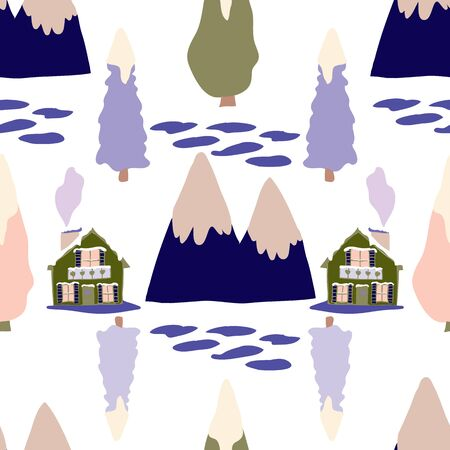 Surrounded in Nature Swiss Chalet Winter Collection Repeat Pattern Seamless Print Vector